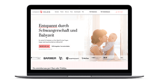 Kinderheldin-Website auf Laptop